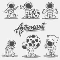 karaktär astronaut. premium vektor