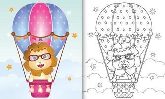 Malbuch für Kinder mit einem niedlichen Löwen auf Heißluftballon vektor