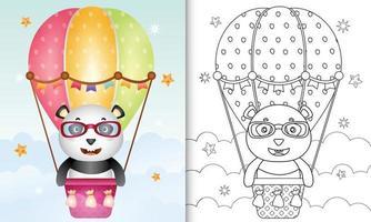Malbuch für Kinder mit einem niedlichen Panda auf Heißluftballon vektor