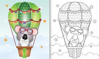 Malbuch für Kinder mit einem niedlichen Koala auf Heißluftballon vektor