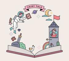 Märchenplakat. Eine Geschichte aus einem Märchen entfaltet sich über dem offenen Buch. vektor