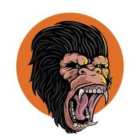 arg gorilla visar tänder. premium vektor