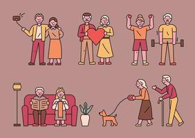 alter Mann Charakter. einfache Charaktere mittleren bis alten Alters stehen. vektor