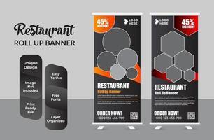 Fast-Food-Restaurant Roll-up-Banner-Vorlage gesetzt vektor