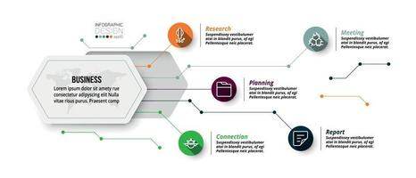 Sechseck Design Infografik. beschreibt die Struktur der Arbeit und berichtet den Arbeitsprozess in einem Diagrammformat. vektor