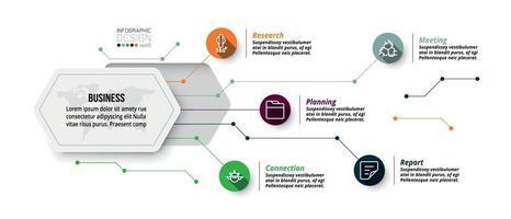 Sechseck Design Infografik. beschreibt die Struktur der Arbeit und berichtet den Arbeitsprozess in einem Diagrammformat.