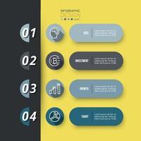 4 Schritte für die Geschäftsplanung oder Investition. kann verwendet werden, um Ergebnisse zu präsentieren.
