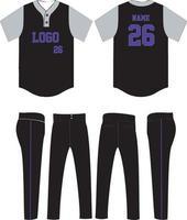 Baseball-Trikot und Hose mit zwei Knöpfen vektor