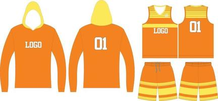 Basketball Hoodie, T-Shirts und Shorts vektor