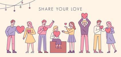 Teile deine Liebe. Menschen stehen in einer Reihe mit Herzen in ihren Händen. vektor