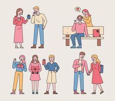 Paare, die Valentinstaggeschenke geben. Paare halten ein Überraschungsereignis ab, wobei ihre Hände ihre Augen bedecken oder Geschenke hinter ihrem Rücken verstecken. vektor