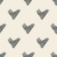 sömlös alla hjärtans dag mönster bakgrund med monokrom hand rita hjärta