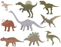 große Menge verschiedener Dinosaurier. vektor