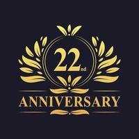 22-årsjubileumsdesign, lyxig gyllene färg 22-årsjubileumslogotyp. vektor
