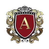 vintage crest design mall kunglig prydnad elegant lyx emblem monogram logotyp. vektor