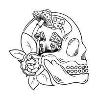 Illustration eines Schädels mit einem wachsenden Pilz, perfekt für Premium-Kleidungsdesigns vektor