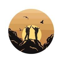 Silhouette Menschen Wandern, Menschen Illustration, Outdoor-Abenteuer. Vektorgrafik für T-Shirt und andere Verwendungen. vektor