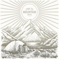 Landschaftsskizze mit Wald, Zelt, Bergen, See, Lager mit Zelten vektor