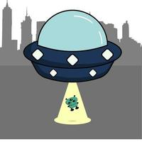 UFO mit einem niedlichen Alien, perfekt für Design-Projekt vektor