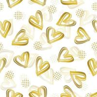 sömlös alla hjärtans dag mönster bakgrund med doodle gyllene hjärta vektor