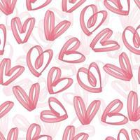 sömlös alla hjärtans dag mönster bakgrund med doodle hjärta från rosa överstrykningspenna vektor