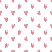 sömlös alla hjärtans dag mönster bakgrund med hjärta från rosa penna vektor