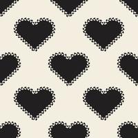 sömlös alla hjärtans dag mönster bakgrund med monokrom hjärta form med hjärta linje ram vektor