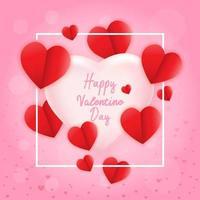 Liebe zum Valentinstag. Glücklicher Valentinstag und Unkrautentwurf Papierherz. Vektorillustration. rosa Hintergrund mit Ornamenten, Herzen. Kritzeleien und Locken. sei mein Valentinsschatz