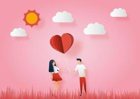 Konzept des Valentinstags. Männer geben Frauen Papierherzen. Vektor Papier Kunst Illustration. Papierschnitt und Bastelstil.