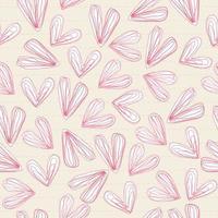 sömlös alla hjärtans dag mönster bakgrund med klotter rosa hjärta klistermärke på fodrade papper vektor