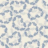 nahtloser Valentinstag Musterhintergrund mit blauer Herzherzlinie von Efeupflanze vektor