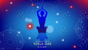 menschlicher Körper in Yoga Lotus Asana auf neonpurpurnen Lotusblättern und dunkelblauem Raum mit Sternenhintergrund. vektor