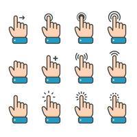 Vektor Cartoon Finger Maus Cursor in verschiedenen Gesten für mobile Touchscreen-Geräte