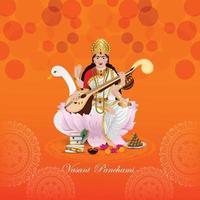 kreative Illustration der Göttin Saraswati für glückliches Vasant Panchami