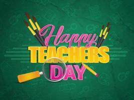 glückliches Lehrertagskarten-Design vektor