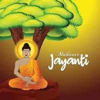 glückliche Mahavir Jayanti Grußkarte vektor
