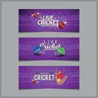 Cricket Match Konzept Banner mit Cricket Helm und Fledermäusen