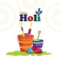 flache Design holi indische Festivalfeier Illustration vektor