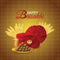 vaisakhi gratulationskort med kreativ illustration vektor