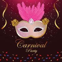 karneval part gratulationskort med mask på lila bakgrund