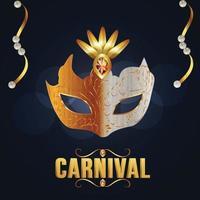Karnevalsparty-Grußkarte mit Maske auf blauem Hintergrund vektor