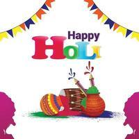 gratulationskort för Holi firande med färgglada skål och färgpistol