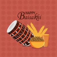 glad vaisakhi firande platt design med trumma