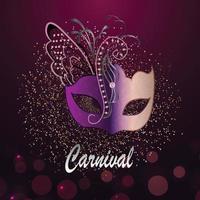 karneval firande fest med lila mask
