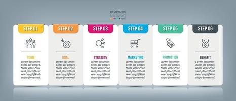 quadratisches Design, 6 Schritte für die Planung. Präsentation von Informationen für Unternehmen, Marketing und andere.