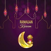 islamiska hälsningar ramadan kareem gratulationskort vektor
