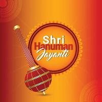 hanuman jayanti gratulationskort med hanuman vapen vektor