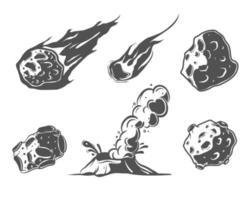 Meteorsammlung mit fallenden Kometen. Asteroiden, Vulkan. Krater im Cartoon-Stil. vektor