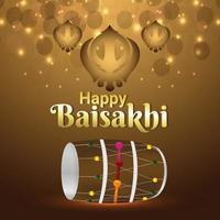 lycklig vaisakhi punjabi festival fest vektor