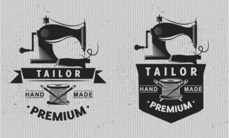 skräddarsy logotyp emblem. skräddarsy koncept. stickning. vektor illustration design.
